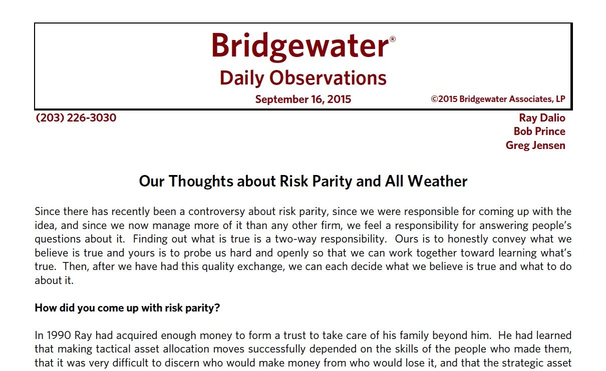 Bridgewater: Our thoughts about risk parity and all weather