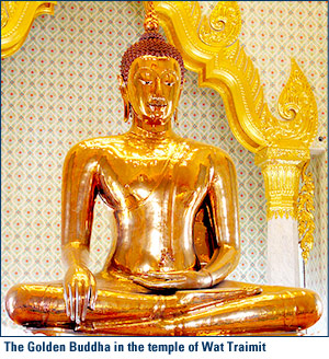 The Golden Buddha in the temple of Wat Traimit